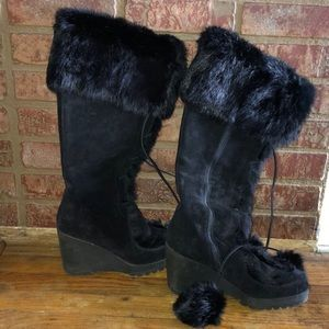 Coach suede knee high boots wedges